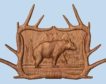 Black Bear Antler Wall Decor ~ Solid Wood Carving ~ Rustic Bear Wood Art by TheWoodGrainGallery