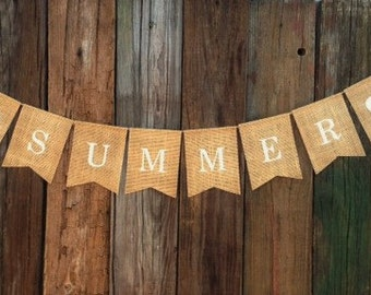 SUMMER - Burlap Banner/Bunting - Mantel Decoration -  Photo Prop - Rustic Country