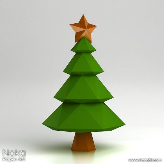 3d Christmas Tree Pattern: Christmas Tree 3D Papercraft Model. Downloadable DIY