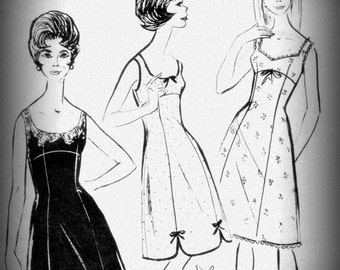 Vintage sewing pattern, lingerie, money - dress combination(overall) PDF
