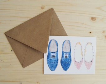 Shoe Card- Anniversary Card- Pair of Shoes Card- Love Card- His & Her Card