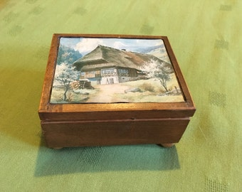 Vintage Reuge Music Box, The Blue Danube, Swiss country side picture, swiss chalet, wood box, swiss music box