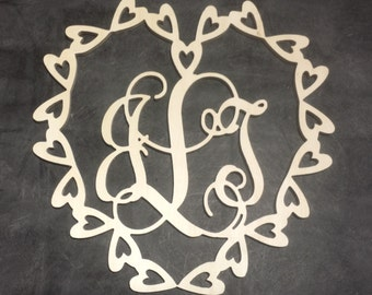 26 inch Multiple Heart Border Connected Vine Monogram