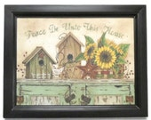 Peace Be Unto This House .. primitive home decor, wall hanging, framed print, housewarming gift, handmade, real wood frame, Made in USA