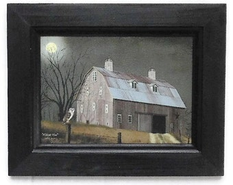 Midnight Moon, Billy Jacobs, Art Print, Barn, Moon and Owl, Primitive Decor, Wall Hanging, Handmade, 9x7, Custom Wood Frame, Made in the USA