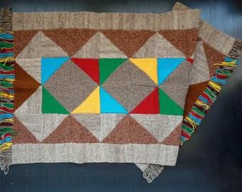 Handmade Rag Rug, Bohemian Rug, Shabby Chic Rug, Hand Knitted Wool Rug, Grey, Brown, Rectangular, FREE SHIPPING