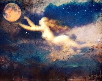 Call of the Wandering Moon,  Matted and signed 8X10 Metallic Print
