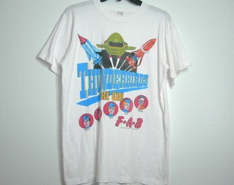 Very Rare 1981 British Cartoon Series Thunderbirds Are Go ~ T Shirt ~ US Large ~ Dimensions Below