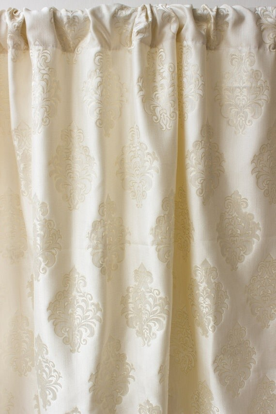 Ivory White Damask Window Curtain Panels Silk Custom By
