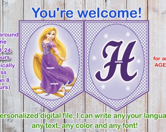 Rapunzel Tangled Birthday banner, Rapunzel birthday banner, Princess birthday banner - Digital file-PERSONALAZED
