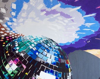 Pop art - Disco ball painting -  80 x 80 cm - ORIGINAL