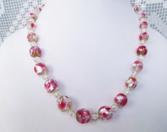 1930s-40s Irridescent Pink & Silver Foil Bohemian Glass Necklace