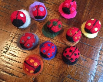 Ladybugs, Waldorf Toy, Montessori Toy, Math Activity, Counting and Color Recognition Activity, Needle Felted, Wool, 10 Ladybugs,Pretend Play