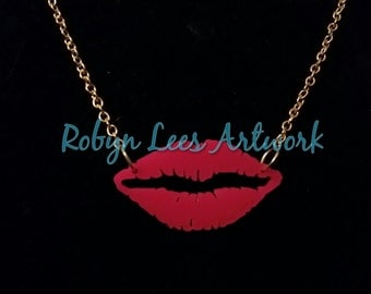 Dark Pink Laser Cut Lips Necklace on Gold Chain