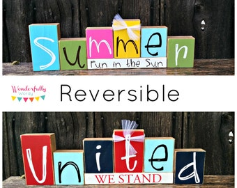 Summer/United Reversible Double Sided Blocks Set 2 Decorations in 1 Summer Decorations 4th of July Decorations