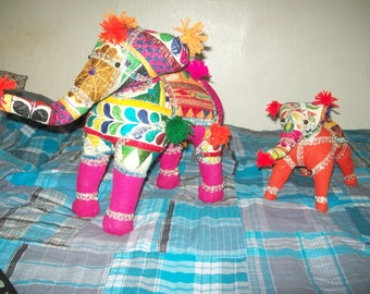 handmade embroidered elephant from india