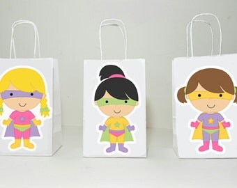 Superhero Goody Bags, Girl Superhero Goody Bags, Superhero Favor Bags, Superhero Gift Bags, Superhero Party Bags