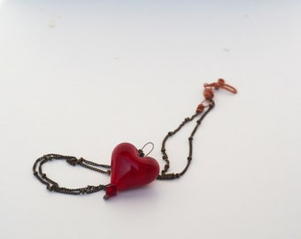 Murano glass heart pendant