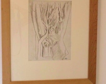 Joseph Stella Tree Forms Framed Stamped Original Silverpoint