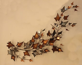 Mid Century Modern Jere Brutalist Metal Leaves Wall Sculpture Signed and Dated