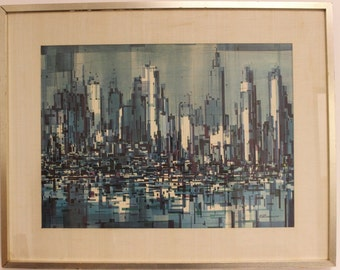 Mid Century Modern Viktor Schrekengost River Reflections Painting
