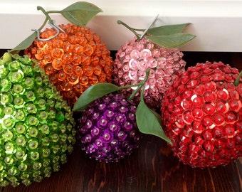 5 Vintage Handmade Sequence Fruit Ornaments/Decor, Beaded Fruit, Sequence Fruit, Vintage Fruit Decor, Vintage Kitchen Decor, Fruit Basket