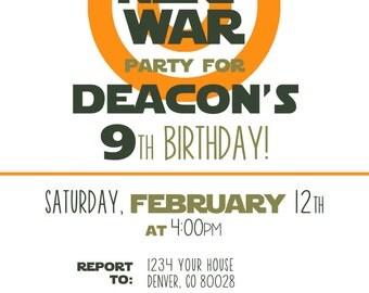 Customized Nerf Gun Birthday Party Invitation in Orange (5x7) PDF Dart Wars
