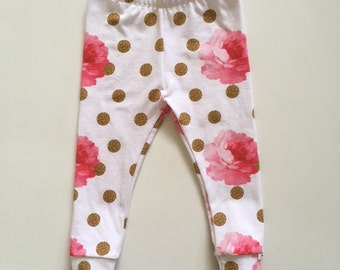 NEW! For Fall! Baby/Toddler Leggings/Joggers/Pink Floral with Gold Dot