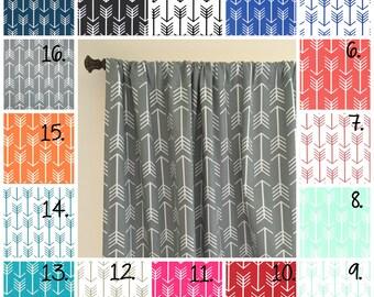 Arrow Curtain Panel Set Navy Blue Arrow Curtain Panels Coral Drapes Gray Arrow Curtain Panels Nursery Curtains Mint Curtains Black and White