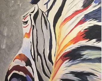 Original Zebra Canvas Painting