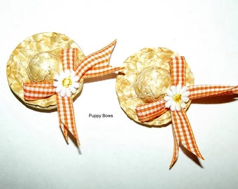 Puppy Bows ~ Daisy and Orange gingham straw hat dog bow with pet hair clip