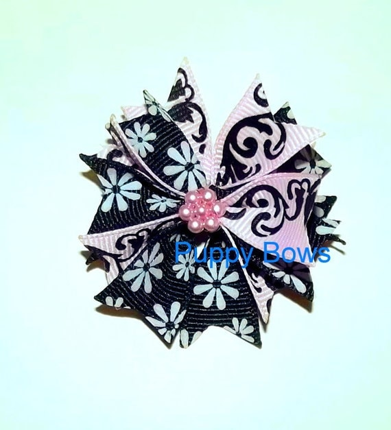 Puppy Bows ~Barrette or bands PINK BLACK daisy round  bow dog grooming ~USA seller