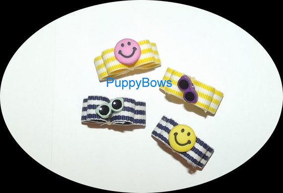 Puppy Bows ~HAPPY FACES summer sunglasses bead center hair bow clip Yorkie  barrette dog grooming