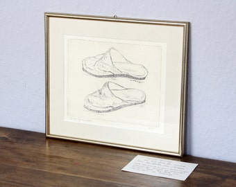 Antique original etching Brändlin Germany print in gold frame slippers house shoes clogs signed art