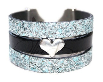 Black Leather and Blue Sparkle Vegan Flat Cord Cuff Bracelet with Silver Heart and hook clasp. Approx. 6 3/4 inches