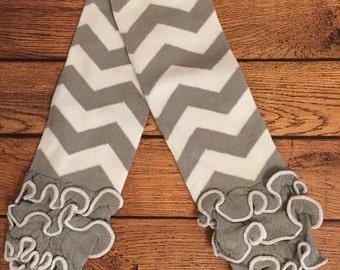Grey chevron ruffle legwarmers