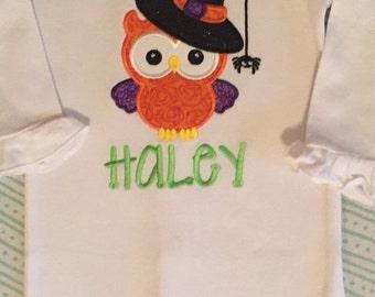 ON SALE Halloween owl shirt or baby bodysuit