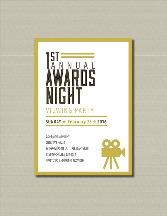 Items similar to 2016 Oscar Party Printable Invitation on Etsy – Oscar Party Invitations