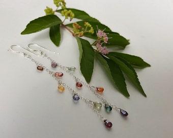 Sparkling Dewdrops - Sapphire Earrings