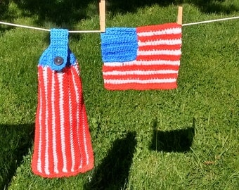 US Flag Crocheted Washcloth and Hand Towel