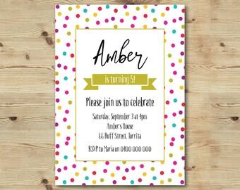 5th Birthday Invitation - Confetti Invitation - Polka Dot Invitation