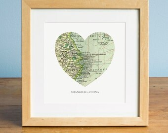Map of Shanghai China, Heart Map, Shanghai Map, Vintage Map, Antique Map Art, Personalized Map Art, Valentines Day