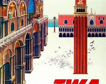 Vintage TWA Flights to Italy Poster A3 Print