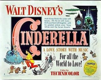 Vintage Cinderella Disney Poster A3 Print