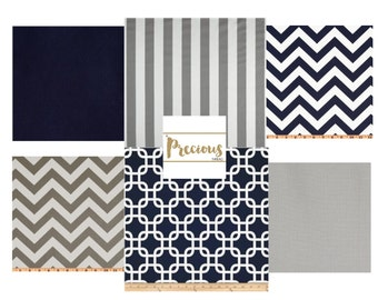 Classic Navy & Gray Crib Bedding - Custom 3 piece Crib Bedding - Choose your fabrics
