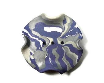 Purple, Silver and White Soap Dish - Draining Soap Dish - Handmade Soap Dish - Gift under 15