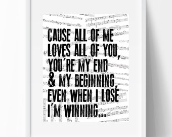 "John Legend Lyrics Print ""ALL OF ME"" (instant download) - makes a great gift!"