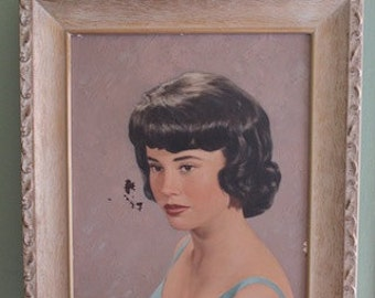 Vintage Framed 1960's Acrylic Painting of a Mystery Lady