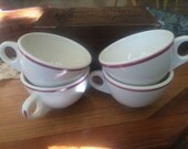 Set af 4 Homer Laughlin Coffee Mugs White and Burgundy