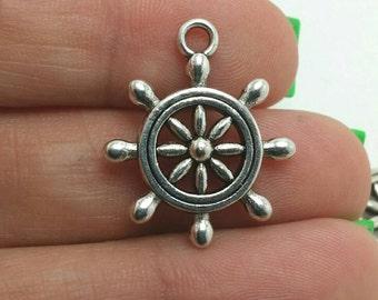 BULK 30 Helm Charms, Nautical Charms, Ship Wheel Charms, Silver Helm Charms, Bulk Charms (5-1326)